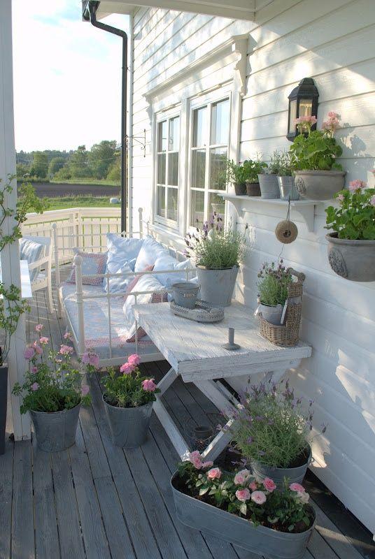 whitewashed and weathered wood shabby terrace
