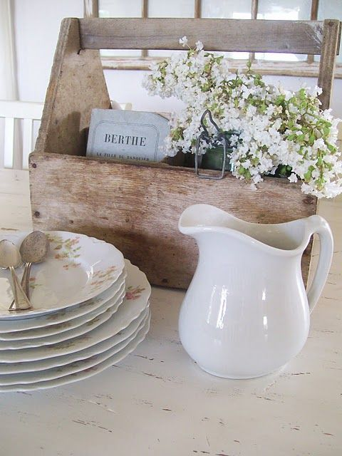 rustic and shabby centerpiece in a tool box
