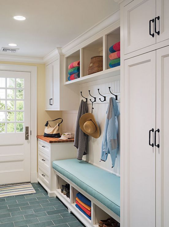 mudroom bench with open compartments