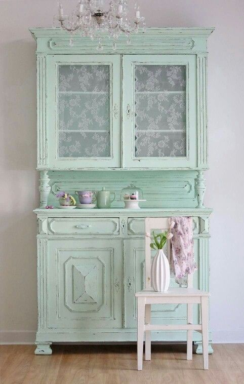 mint shabby tableware and dishes cabinet