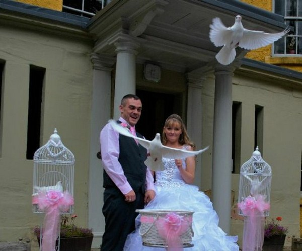 Wedding doves from paper and balloon