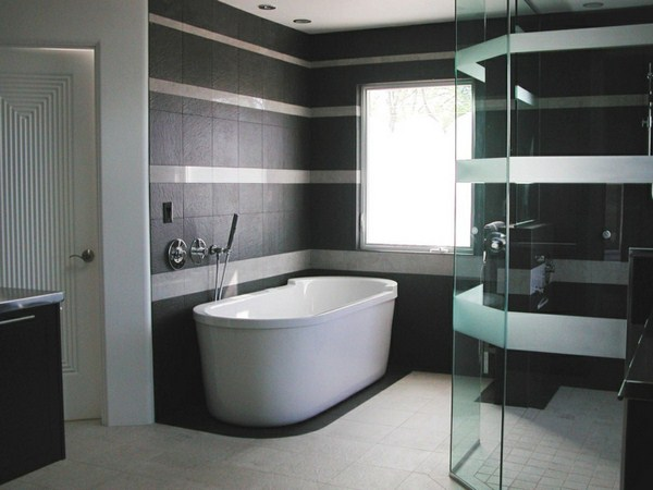 modern bathroom design ideas black walls beautiful white bathtub