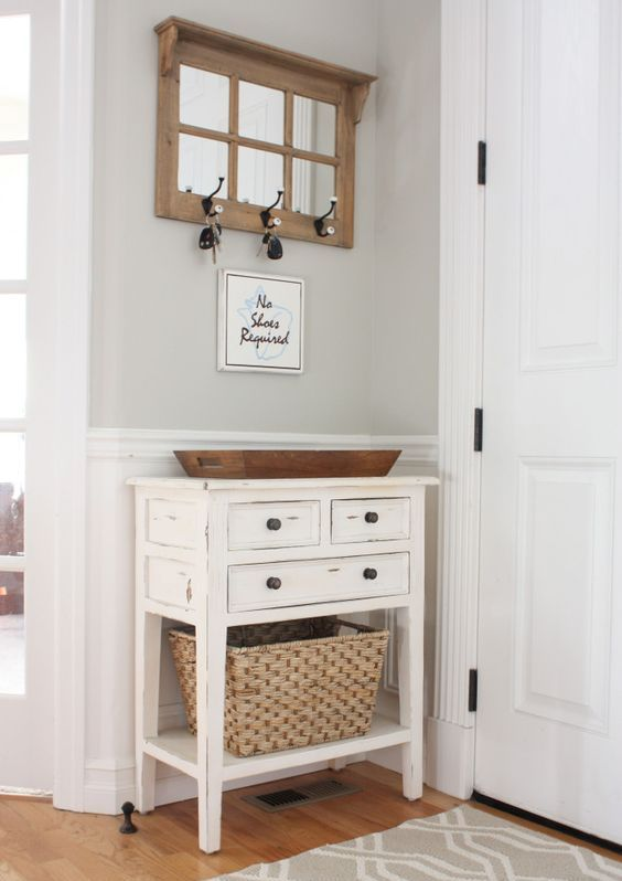 neutral colored mudroom