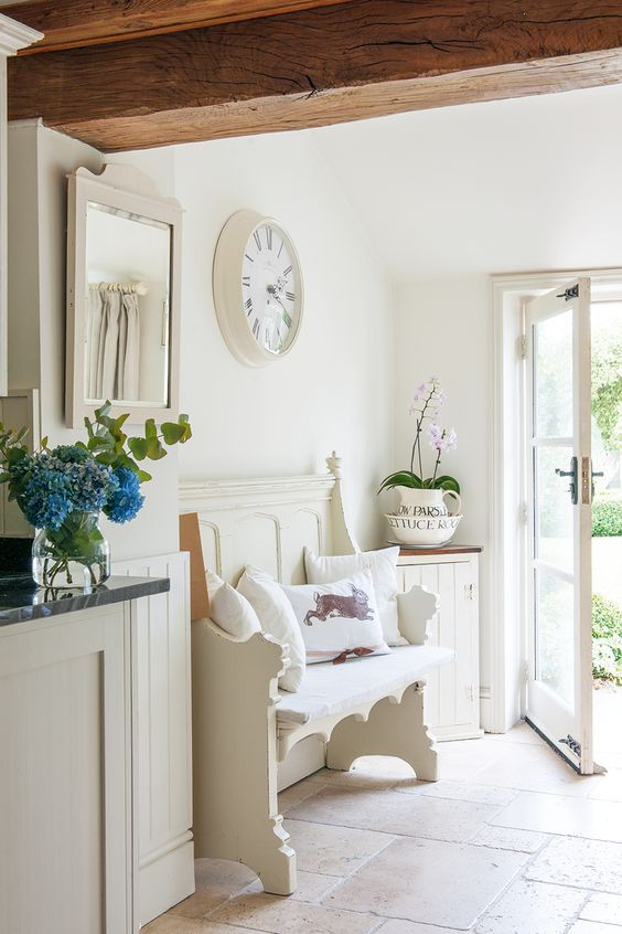 shabby chic entryway with rustic touches