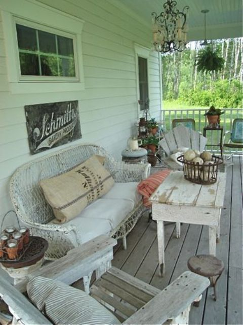 shabby chic porch decorated with weathered and whitewashed wood