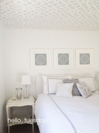 How to stencil your ceiling with a sheer pattern