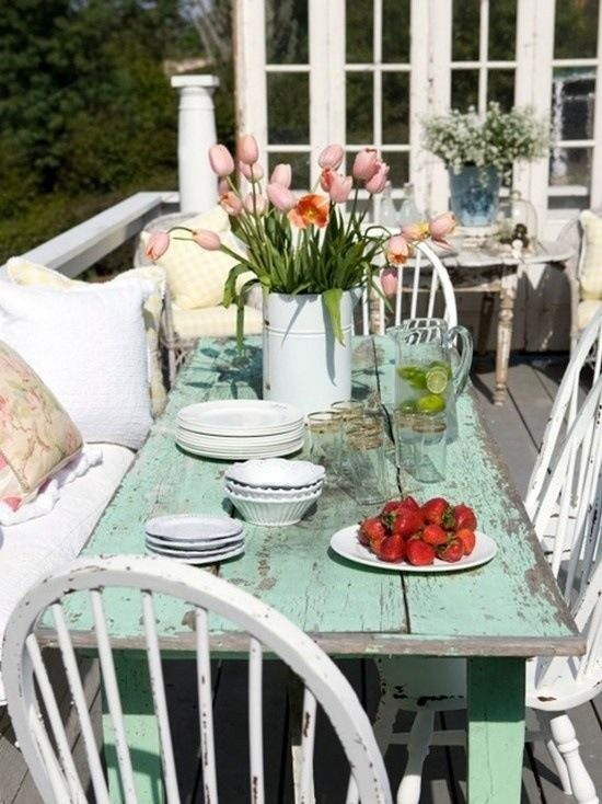 distressed mint dining table