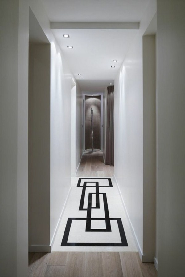 designed carpet in the hallway modern