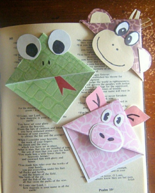 Origami bookmark do-it-yourself imaginative and funny