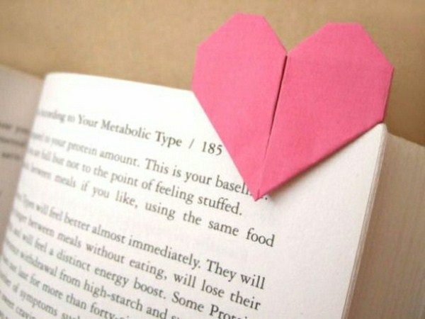 Origami bookmarks to make myself pink heart