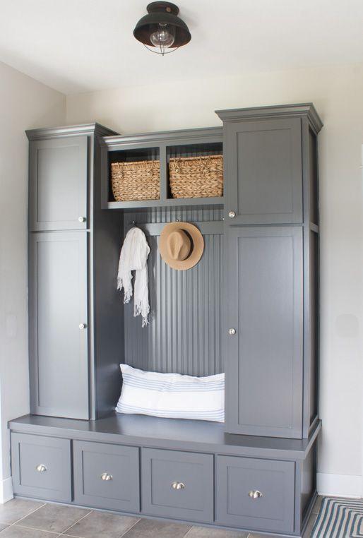 grey mudroom cabinets