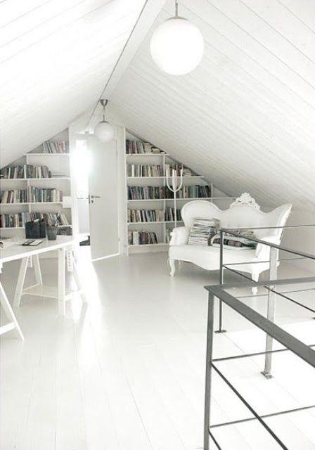 bookshelves under the eaves