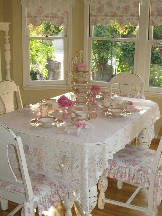 pink and white shabby chic dining zone