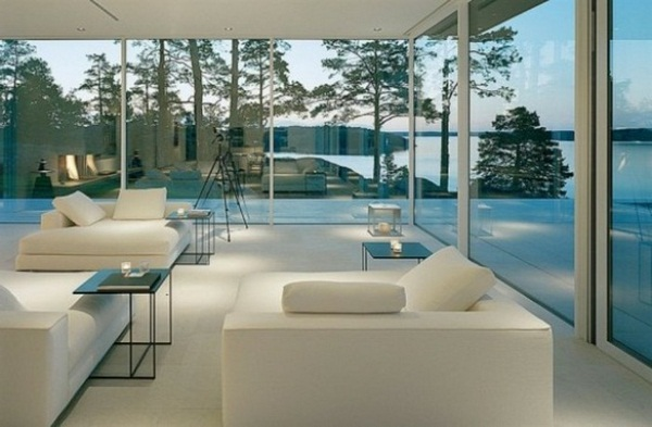 white chic furniture and a great glass walls panorama house