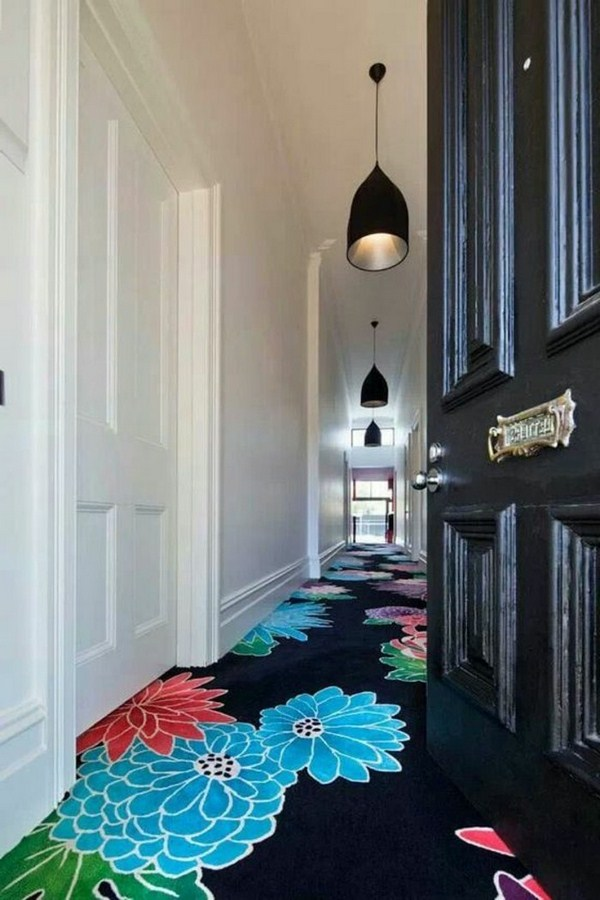 Carpet in the hallway with colorful floral prints residential ideas corridor
