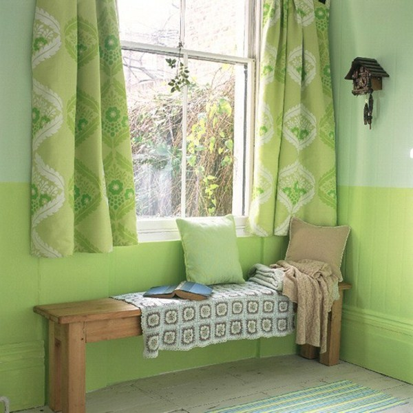 Wall design in green paint green wall