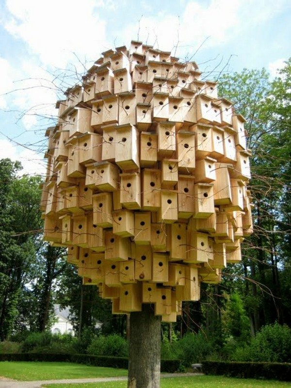 Contemporary art with birds house on a tree