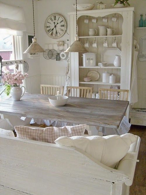whitewashed shabby chic dining room