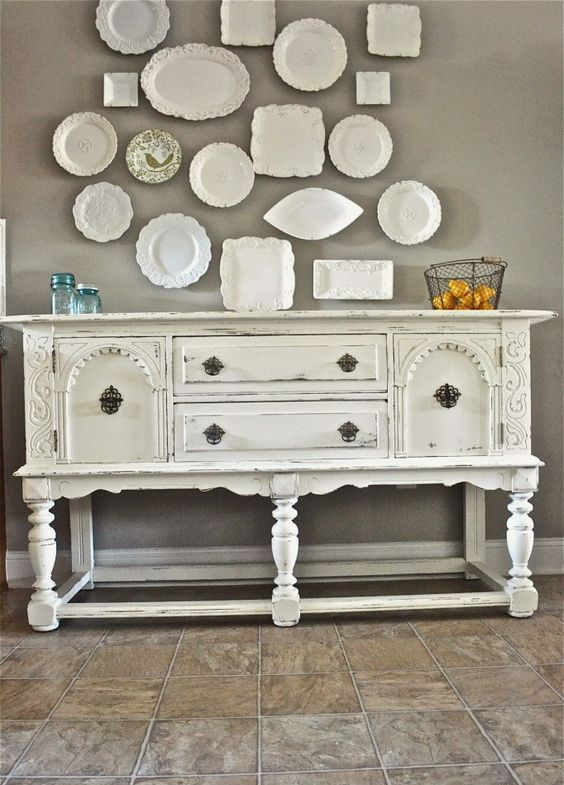 white shabby buffet for a shabby dining room