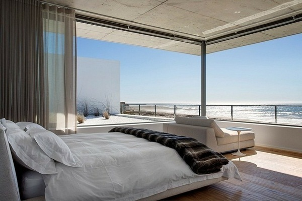 romantic white bedroom in modern exotic panorama house