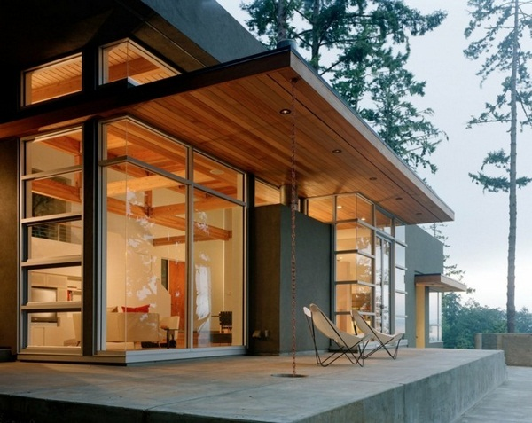 small splendid panorama house in forest