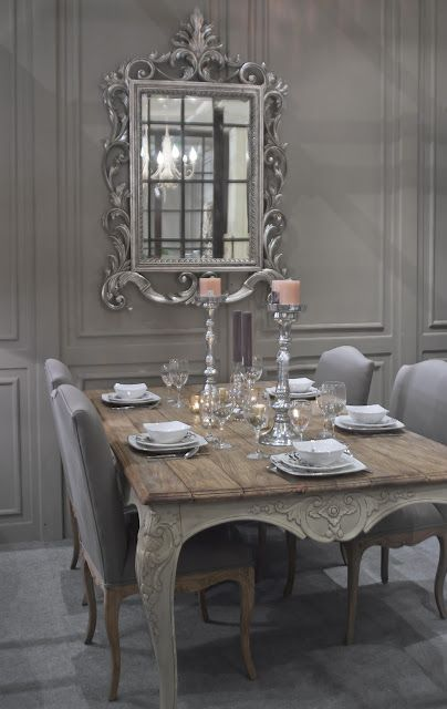 shabby French styled grey dining room