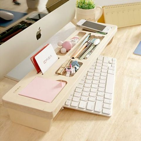 light colored organizer with a niche for the keyboard