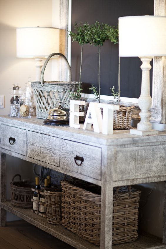 shabby accessories displayed on a whitewashed table