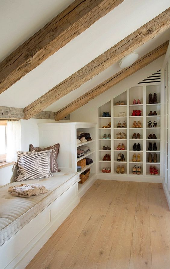 shoes shelves under the roof