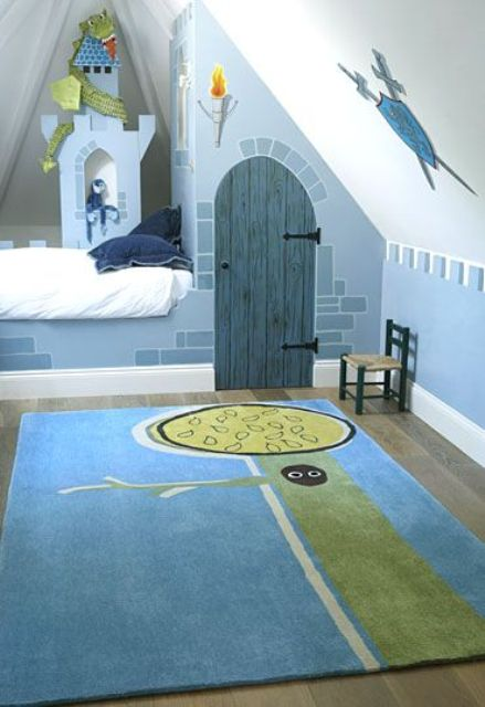castle themed boys' attic room
