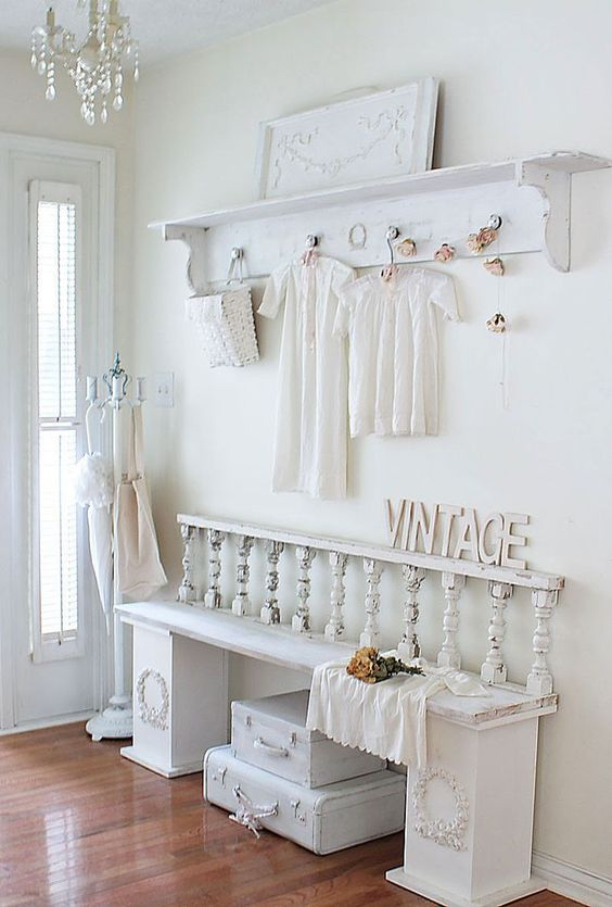 all white shabby chic entryway
