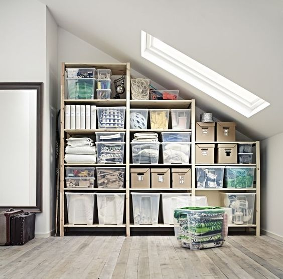 three section shelving unit for attic spaces