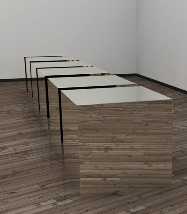 Contemporary art with some mirror cubes