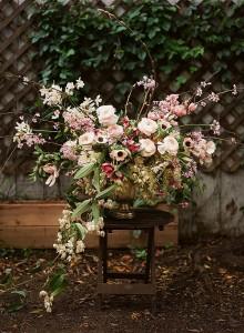 March Season Flowers with magnolia, cherry blossom, spirea, clematis, anemone, ranunculus, tulip