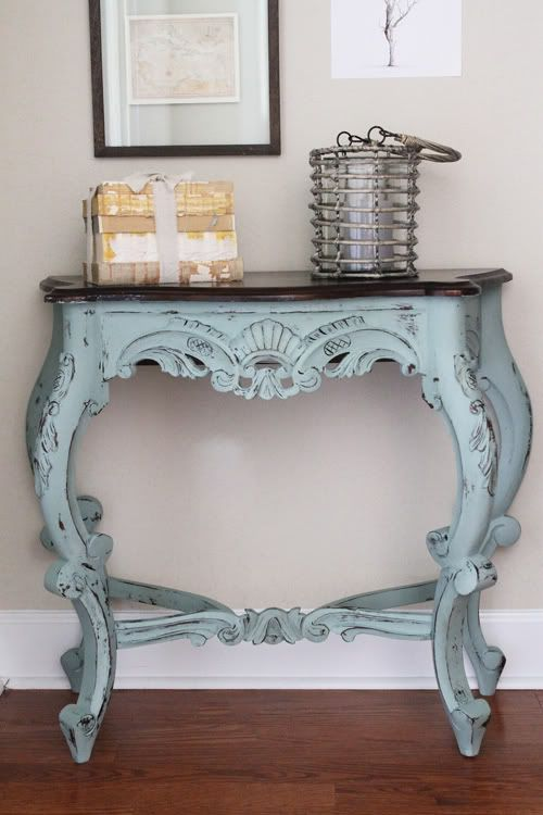 refined patina console table