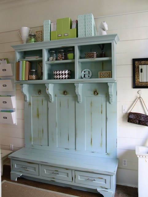 mint shabby coat rack with drawers