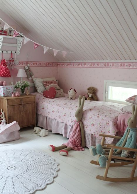 pink vintage attic bedroom for a girl