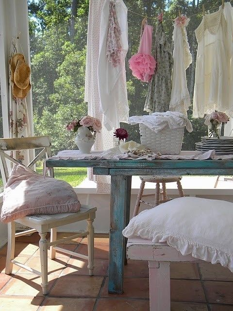 distressed pastel terrace furniture