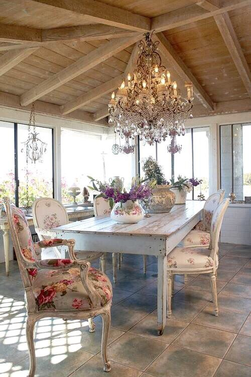 French styled neutral dining area with floral patterns