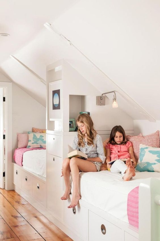 modern attic shared girls' room