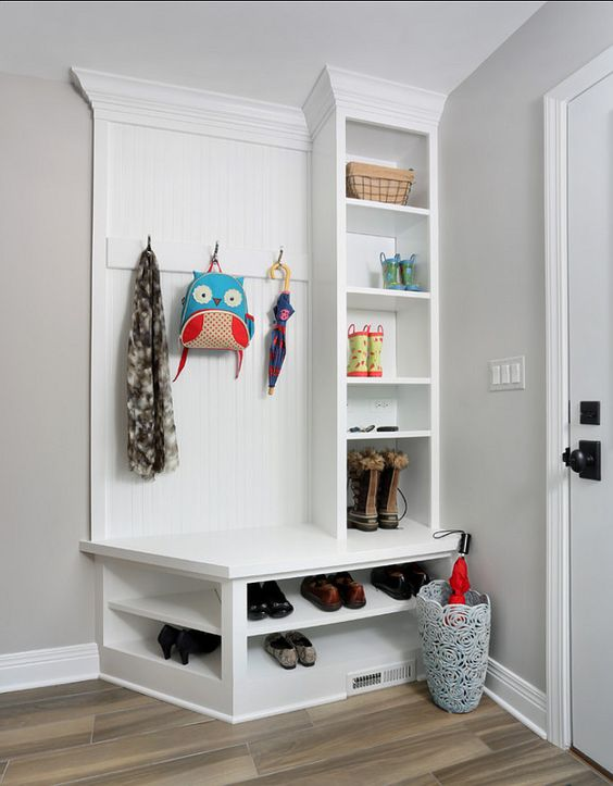 small white mudroom