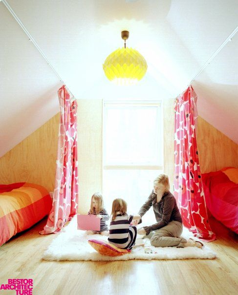 bold attic shared girls' bedroom