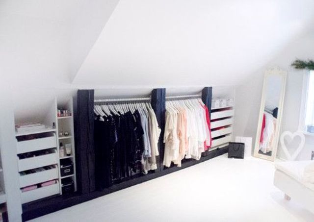 closet hangers and drawers under the eaves