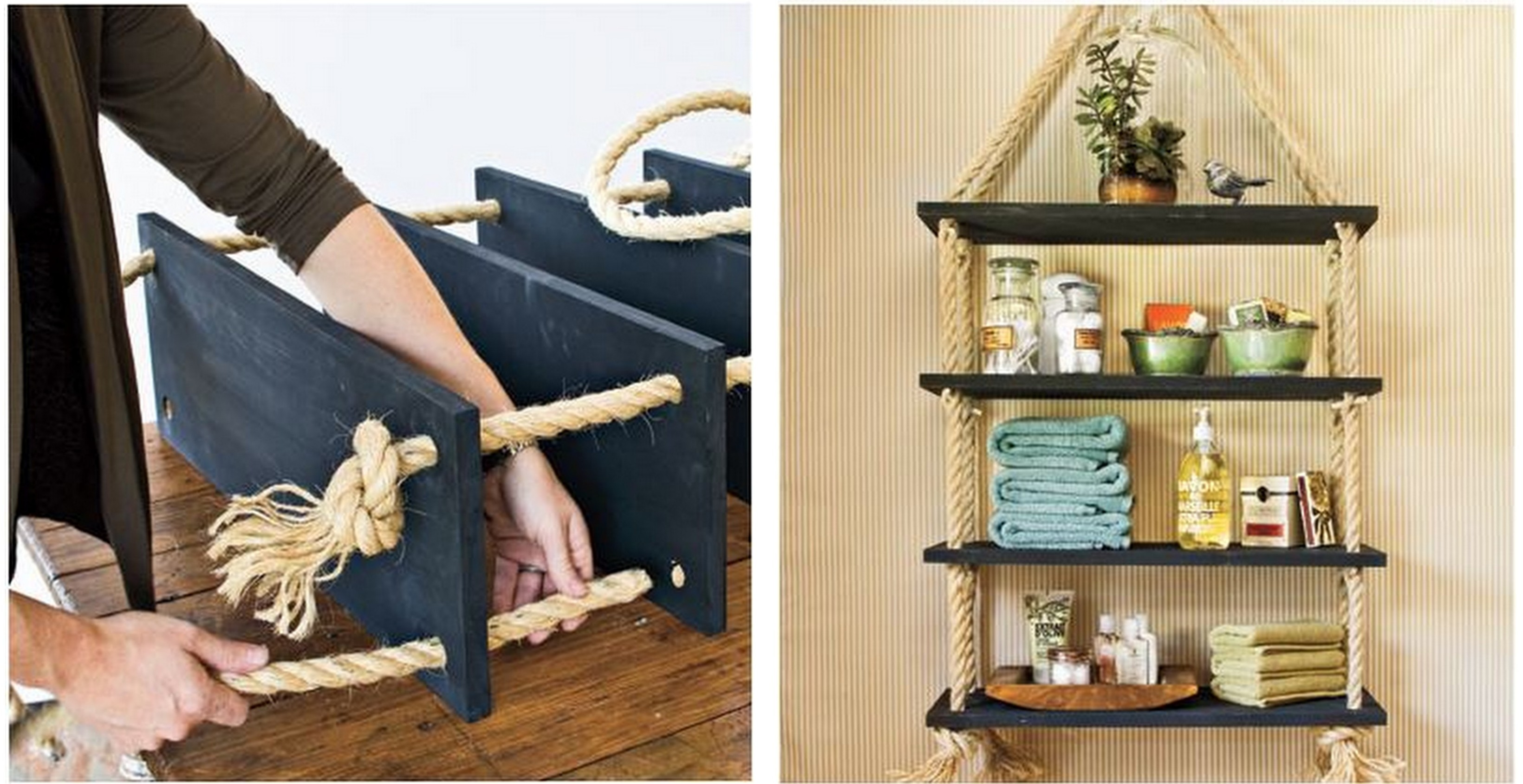 DIY Ideas: The Best DIY Shelves DIY Ideas: The Best DIY Shelves rope shelf 2