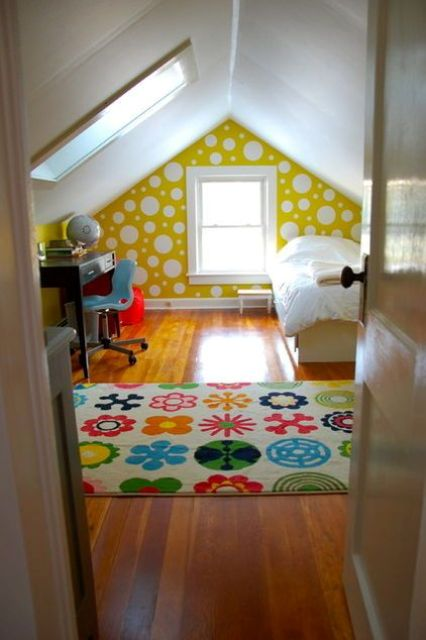 bold printed attic kids' room