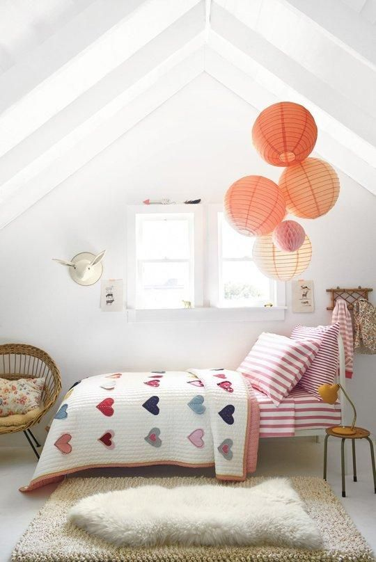 sweet attic kids' room for a girl