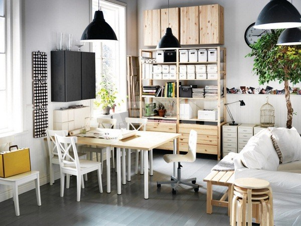 white wall color industrial pendant lights wood element work table