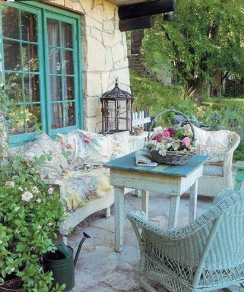 shabby wooden and woven furniture