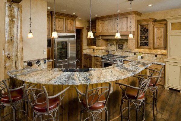 rustic look of natural stone worktop for the kitchen