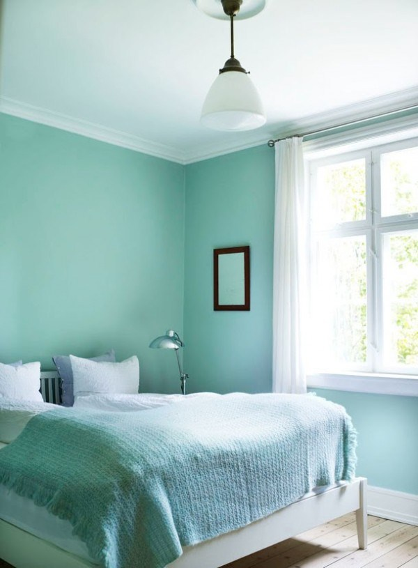 Bedroom small mint and white
